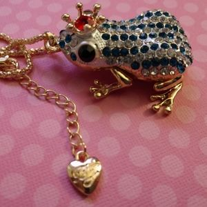 Betsey Johnson Crystal 3D Frog Necklace